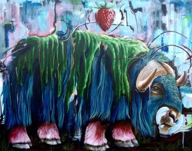"Celebrations 1, 2018. Acrylic on Canvas 48 x 60"". Karl Jahnke"