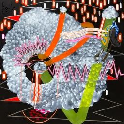 "Cradle Sac of Life: Portal 5. Mixed Media 36 x 36"". CJ Hungerman"