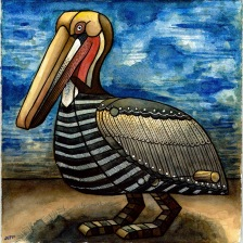 """Brown Pelican"" 2017, 13x13"" by Jeff Horwat : $250"