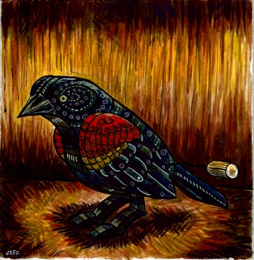 """Red Winged Black Bird"" 2016, 13x13"" by Jeff Horwat : $200"